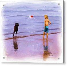 Acrylic Print featuring the painting Beach Ball Race by Sena Wilson