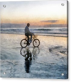 Beach Biker Acrylic Print by Francesa Miller