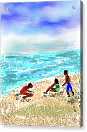 Beach Buddies  Acrylic Print by Elaine Lanoue