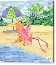 Beach Chair Flamingo Acrylic Print by Paul Brent