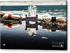 Beach Chairs And Rock Pools Acrylic Print