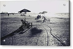 Beach Chairs And Tables,black And White. Acrylic Print by Mohamed Elkhamisy