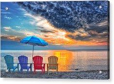 Beach Chairs Acrylic Print by Brian Mollenkopf