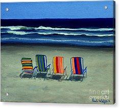 Beach Chairs Acrylic Print by Paul Walsh