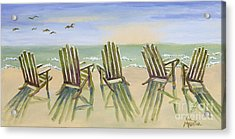 Beach Chairs Relaxing Acrylic Print