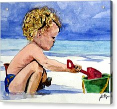 Acrylic Print featuring the painting Beach Construction by Jim Phillips