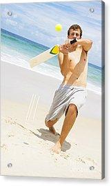Beach Cricket Slog Acrylic Print by Jorgo Photography - Wall Art Gallery