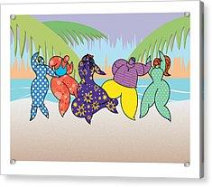 Beach Dancers Acrylic Print by Steve Ellis