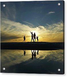 Beach Dancing At Sunset Acrylic Print