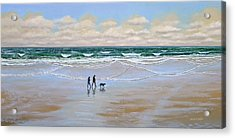 Beach Dog Walk Acrylic Print by Frank Wilson
