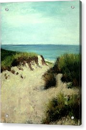 Acrylic Print featuring the painting Beach Dunes by Cindy Plutnicki