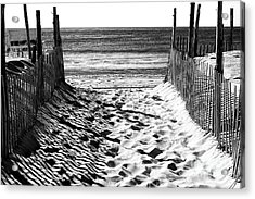 Beach Entry Black And White Acrylic Print