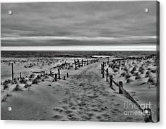 Beach Entry In Black And White Acrylic Print by Paul Ward
