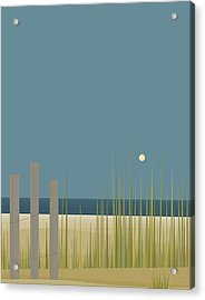Beach Fence Acrylic Print by Val Arie