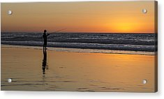 Beach Fishing At Sunset Acrylic Print