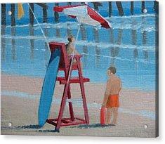 Beach Guards On Duty Acrylic Print by Robert Rohrich
