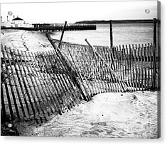 Acrylic Print featuring the photograph Beach Haven Dune Fence by John Rizzuto