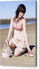 Beach Holiday Woman Acrylic Print