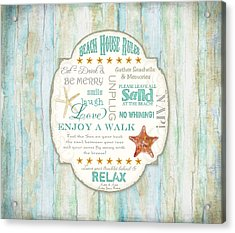 Beach House Rules - Refreshing Shore Typography Acrylic Print