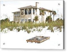 Beach House Vacation Home Above Sand Dunes Destin Florida Diffuse Glow Digital Art Acrylic Print by Shawn O'Brien