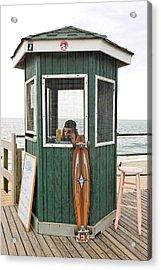 Beach Kiosk Long Branch Nj Acrylic Print by Eric Levin