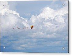 Beach Kite Acrylic Print by Peter  McIntosh