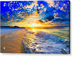 Acrylic Print featuring the photograph Beach Landscape Photography Golden Ocean Sunset by Eszra Tanner