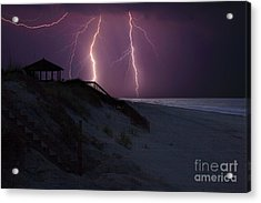 Beach Lighting Storm Acrylic Print