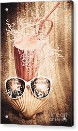 Beach Milkshake With A Strawberry Splash Acrylic Print by Jorgo Photography - Wall Art Gallery