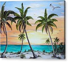Beach Of Palms Acrylic Print by Riley Geddings