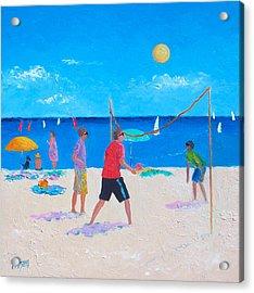 Beach Painting Beach Volleyball  By Jan Matson Acrylic Print by Jan Matson