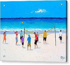 Beach Painting - Beach Volleyball   Acrylic Print by Jan Matson
