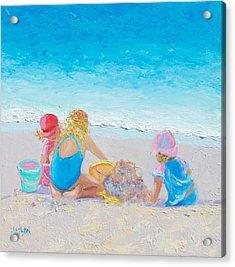 Beach Painting - Building Sandcastles Acrylic Print