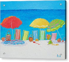 Beach Painting - Deck Chairs Acrylic Print by Jan Matson