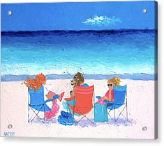 Beach Painting - Girl Friends - By Jan Matson Acrylic Print