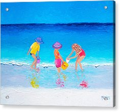 Beach Painting - Water Play  Acrylic Print by Jan Matson