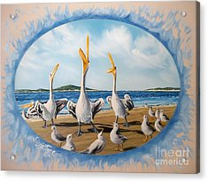Flying Lamb Productions            Pelicans   Beach Platoon Acrylic Print