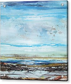 Beach Rhythms And  Textures Northumberland Acrylic Print by Mike   Bell