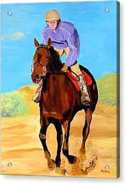 Acrylic Print featuring the painting Beach Rider by Rodney Campbell