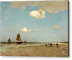 Acrylic Print featuring the painting Beach Scene by Jan Hendrik Weissenbruch