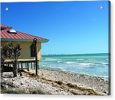 Beach Shack Acrylic Print by Peter  McIntosh