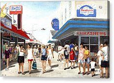 Acrylic Print featuring the painting Beach/shore I Boardwalk Ocean City Md - Original Fine Art Painting by G Linsenmayer