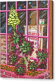 Acrylic Print featuring the painting Beach Side Storefront Window by Katherine Young-Beck