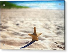 Beach Starfish Wood Texture Acrylic Print by Dan Sproul