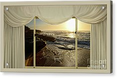 Beach Sunrise From Your Home Or Office By Kaye Menner Acrylic Print by Kaye Menner