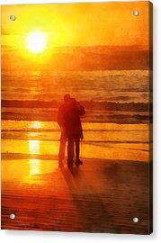 Beach Sunrise Love Acrylic Print by Francesa Miller