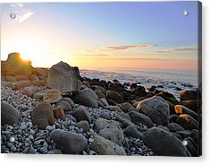 Beach Sunrise Over Rocks Acrylic Print