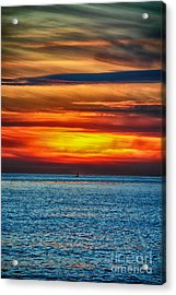 Acrylic Print featuring the photograph Beach Sunset And Boat by Mariola Bitner