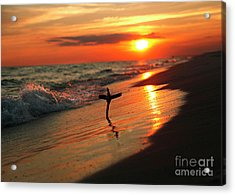Beach Sunset And Cross Acrylic Print