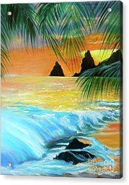 Beach Sunset Acrylic Print by Jenny Lee